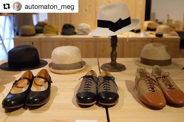 『帽子と靴』展最終日♪ 帽子(即売)。靴 (セミオーダー )。オートマタも少しですが動かせます。営業時間は18時まで。是非、お気軽にお越し下さい❣️#Repost @automaton_meg