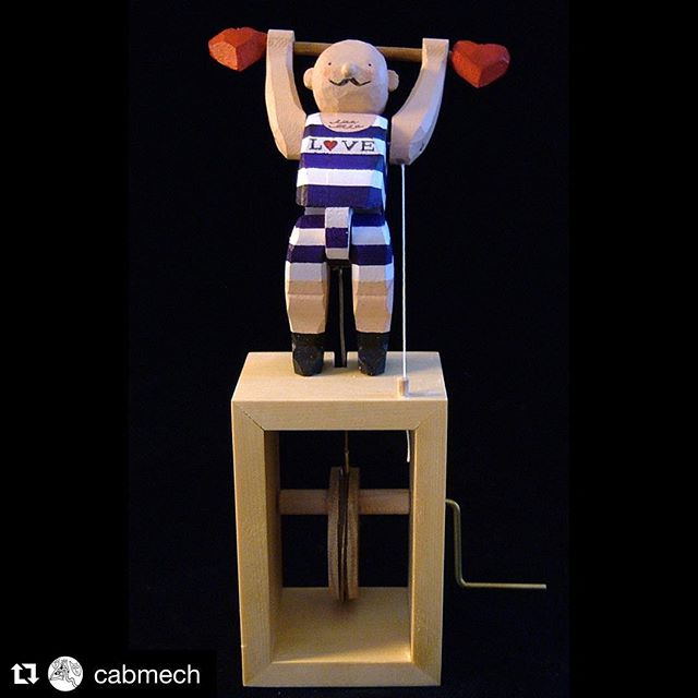 #Repost @cabmech・・・Last Chance to See 2: Marvellous Machines at Red House Museum, Christchurch, Dorset - Ends 1st September. The Power of Love by Kazu Harada @kazu_automata #automata #weightlifting #love #stripes